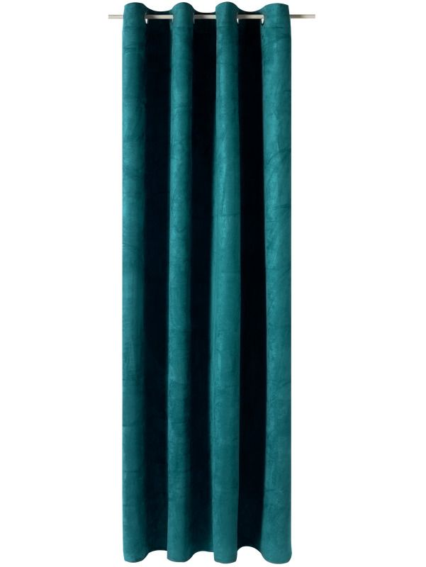 rideau velvet coloris bleu paon 140 x 260 cm paon bleu et d co salon. Black Bedroom Furniture Sets. Home Design Ideas