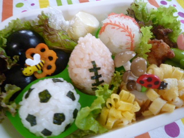 Photo of 【キャラ弁】 野球・サッカー・ラグビー by *ぷくよし*