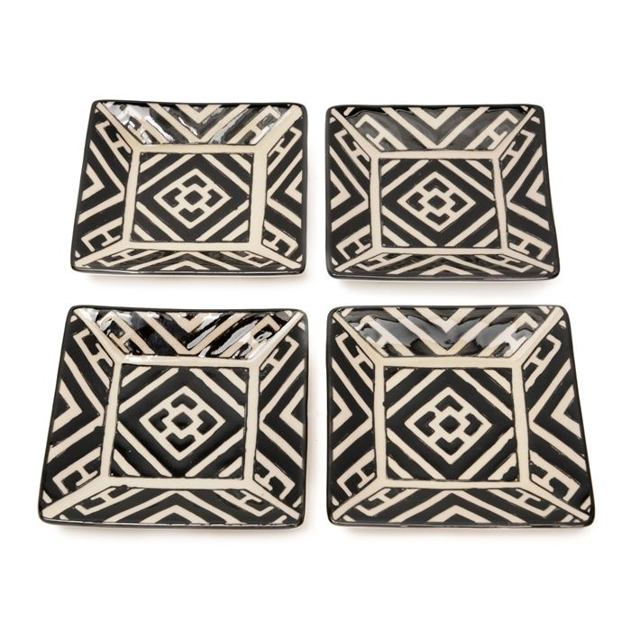 Vagabond Vintage Handpainted Black and White Square Dishes set of 4  sc 1 st  Pinterest & Vagabond Vintage Handpainted Black and White Square Dishes set of 4 ...