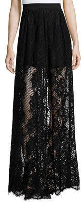Alexis Lucrenzia High-Waist Lace Maxi Skirt, Black