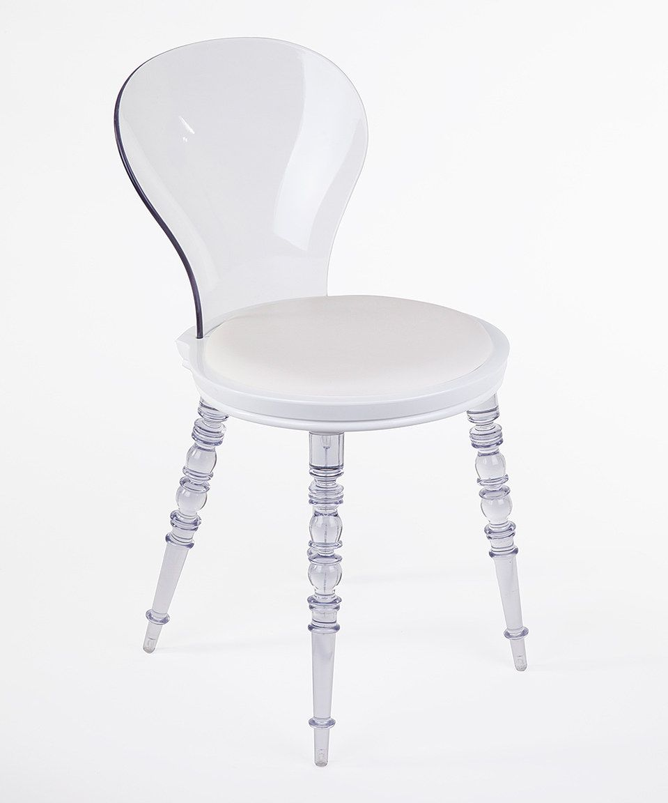 Another great find on #zulily! Clear & White Johan Clear Leg Chair by Control Brand #zulilyfinds