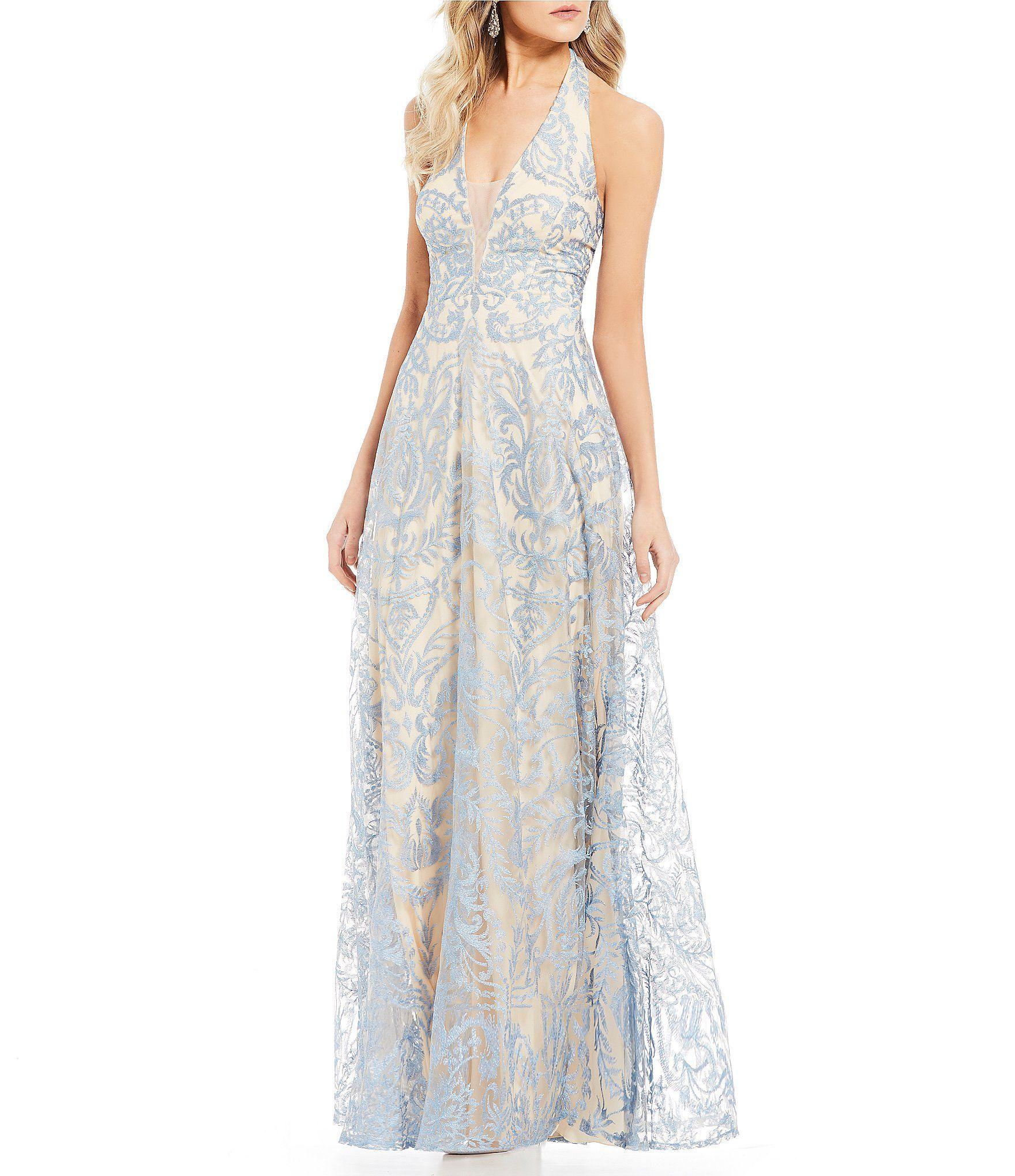 Xtraordinary halterneck embroidered long dress dillards halter