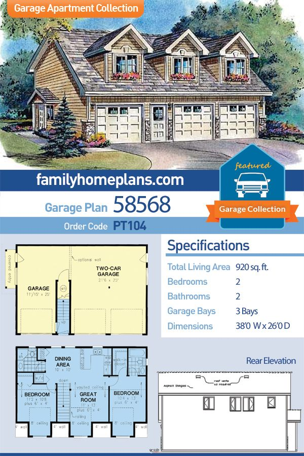 Traditional Style 3 Car Garage Apartment Plan Number 58568 With 2 Bed 2 Bath Carriage House Plans Garage Apartment Plan Garage Apartment Plans