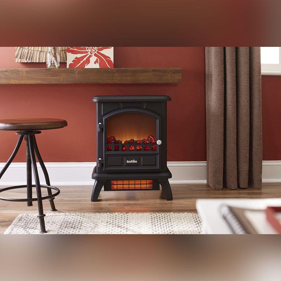 Tremendous Duraflame 500 Black Infrared Freestanding Electric Fireplace Interior Design Ideas Gentotryabchikinfo
