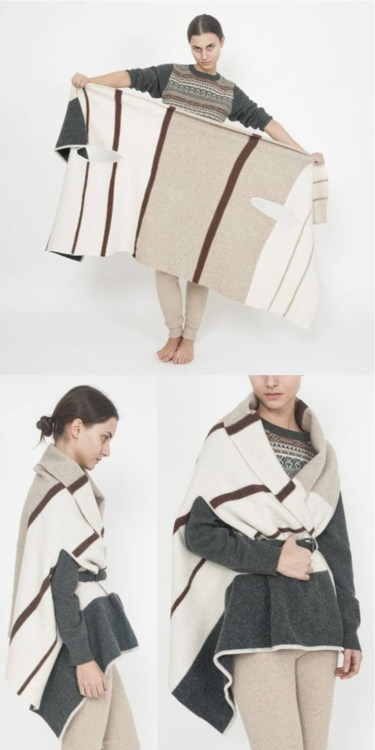 make a blanket into a belted wrap | Knit: Sweater | Pinterest ...