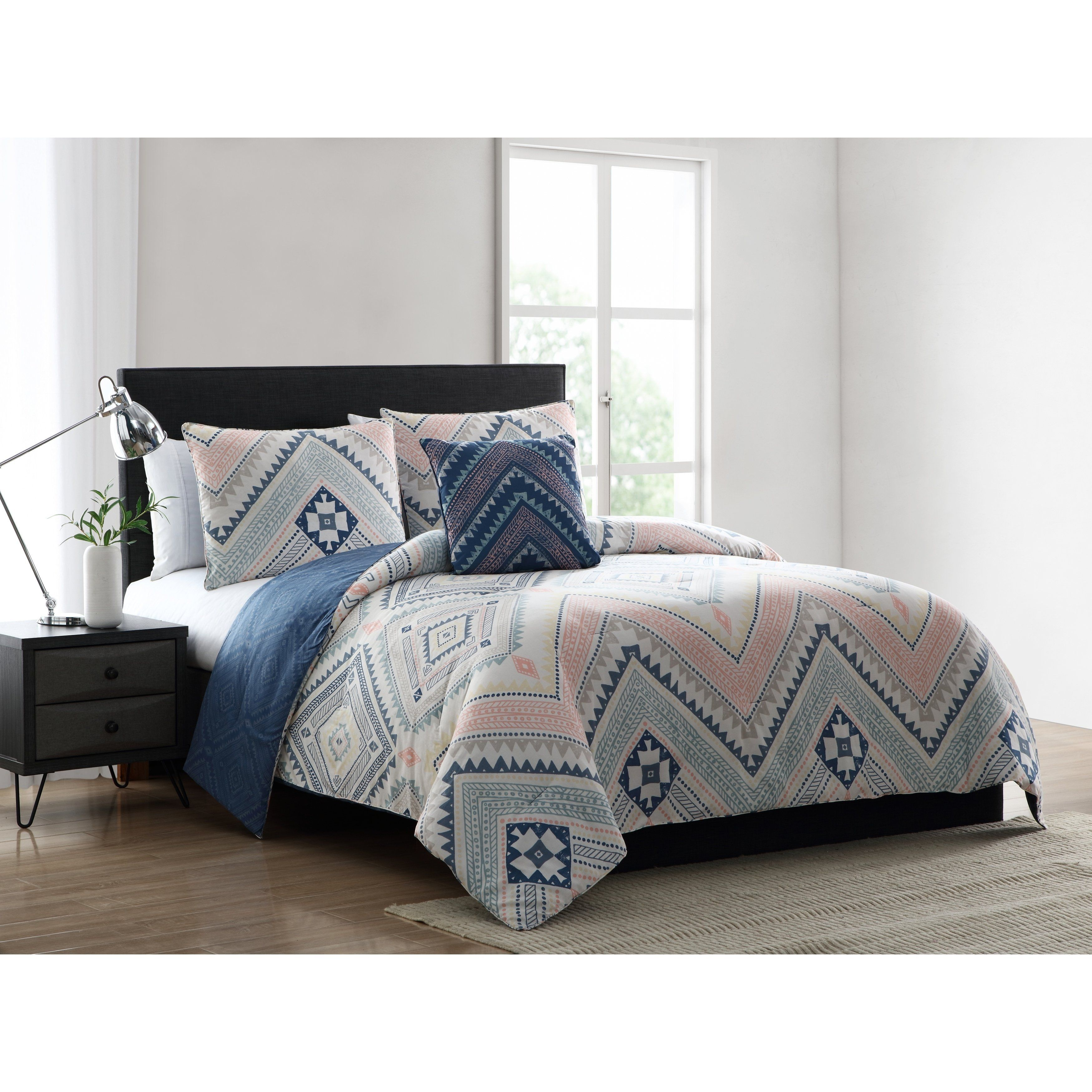 Asher Home Sally Blue And Pink Tribal Print Comforter Set Full
