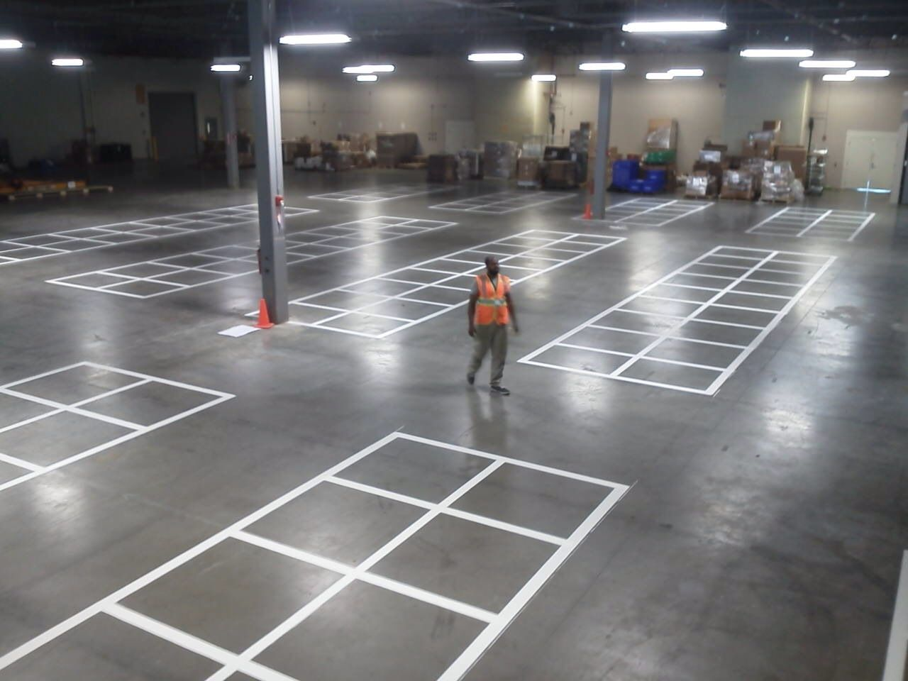 More warehouse striping in the form of a pallet staging
