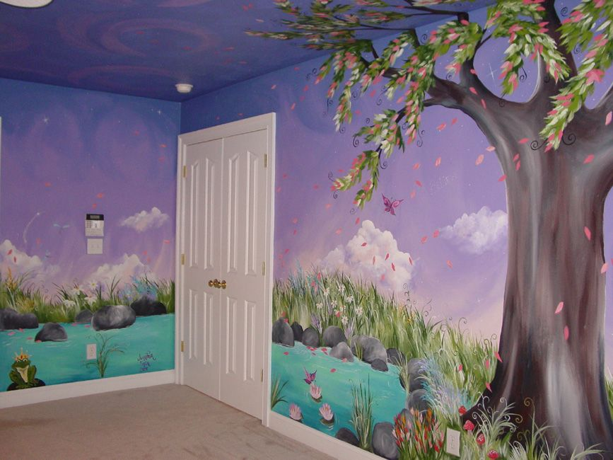 Jaden 39 s dreaming tree custom murals hand painted for Fairy garden wall mural