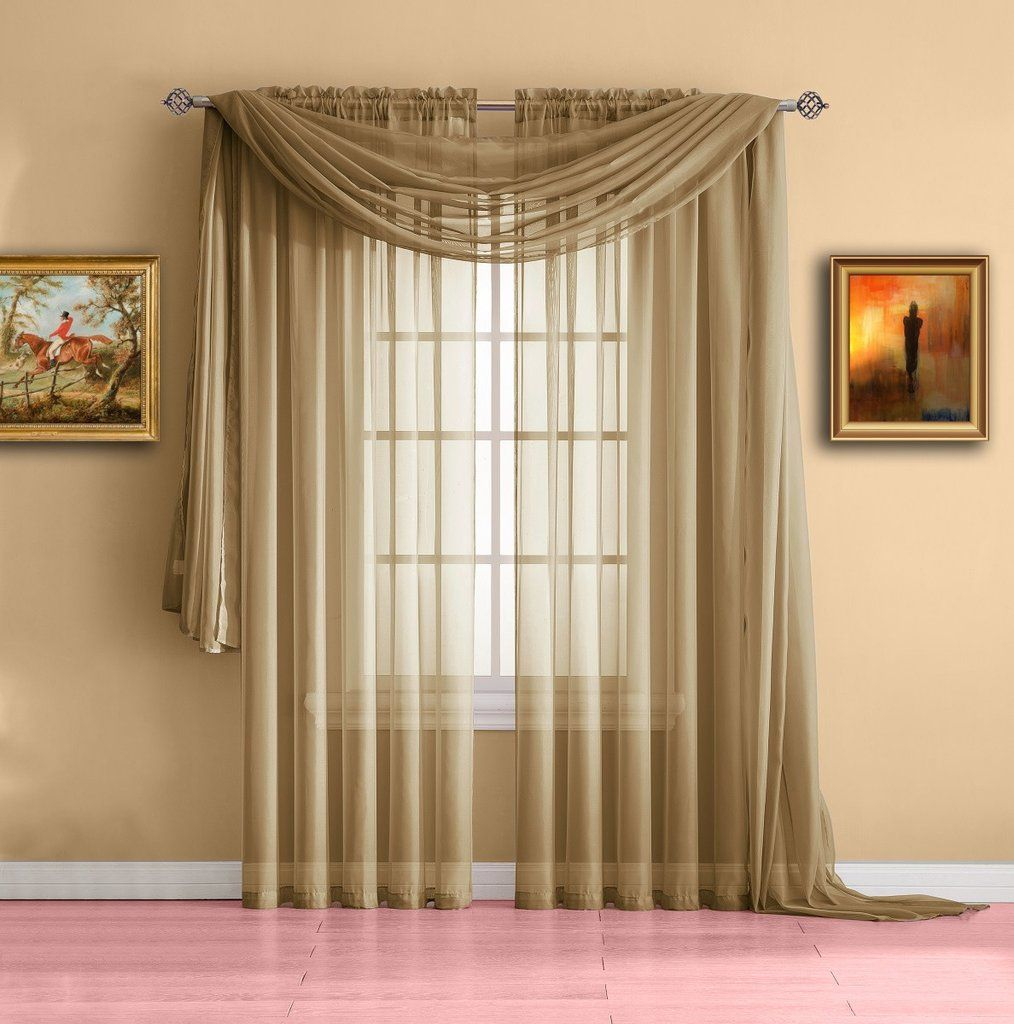 Captivating Warm Home Designs Pair Of Caramel Gold Sheer Curtains Or Extra Long Window  Scarf