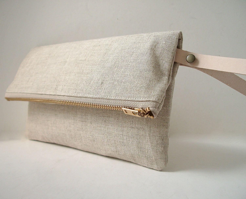 Wristlet, Linen Clutch Purse - Natural Linen, Leather Wrist Strap (Brass Zipper). $42.00, via Etsy.