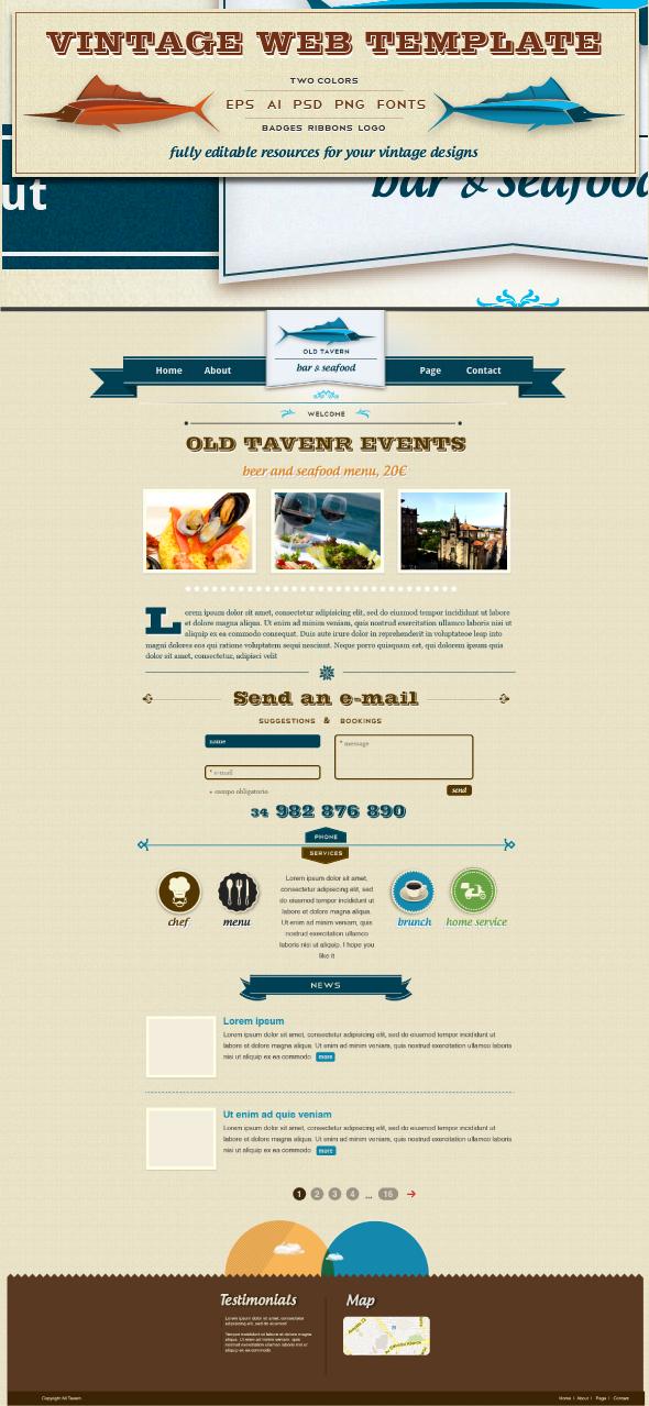 Old Tavern Vintage Web Template Web Template Ribbon Logo Templates