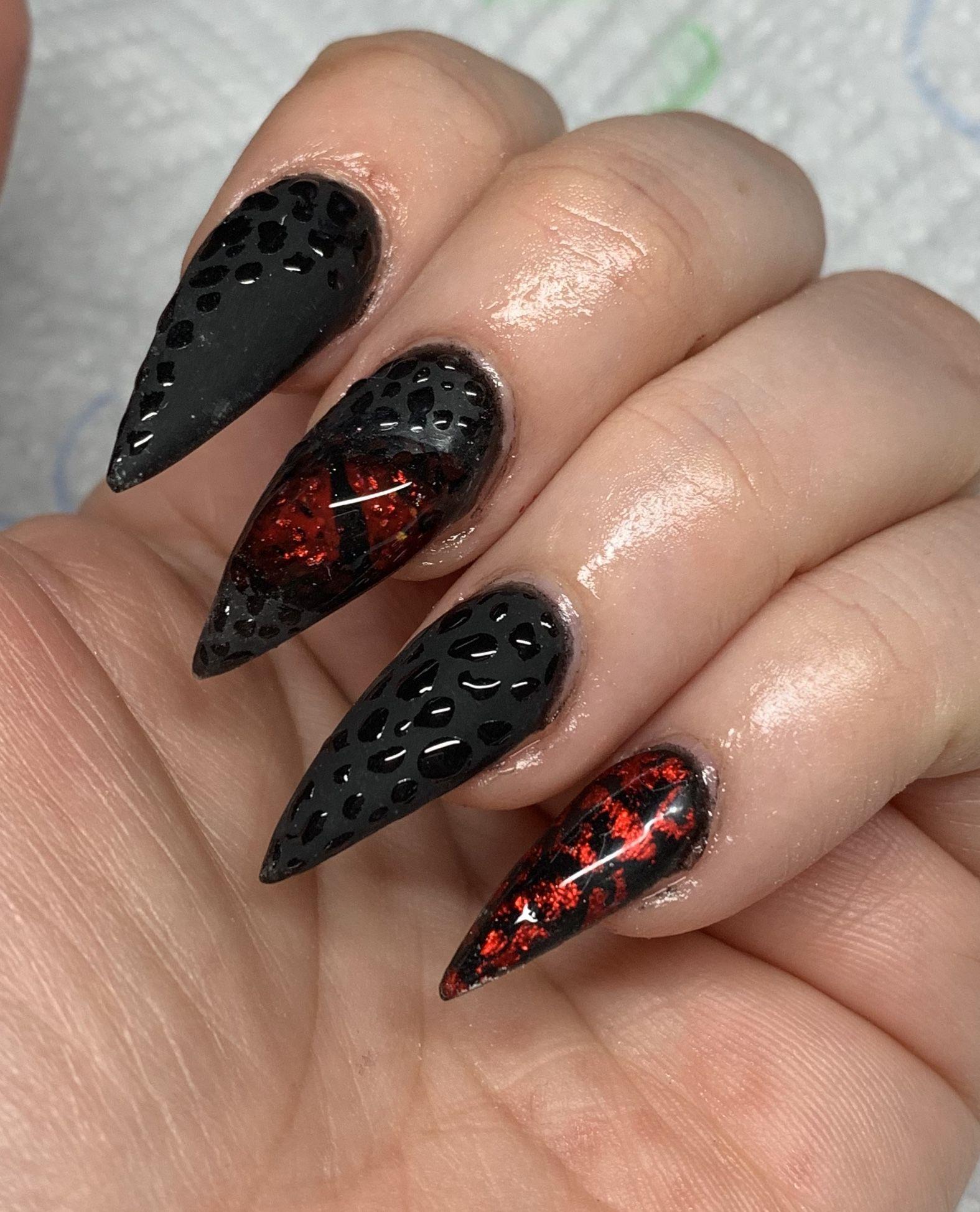 Halloween Black Dragon Nails Dragon Nails Matte Black Nails Halloween Nails