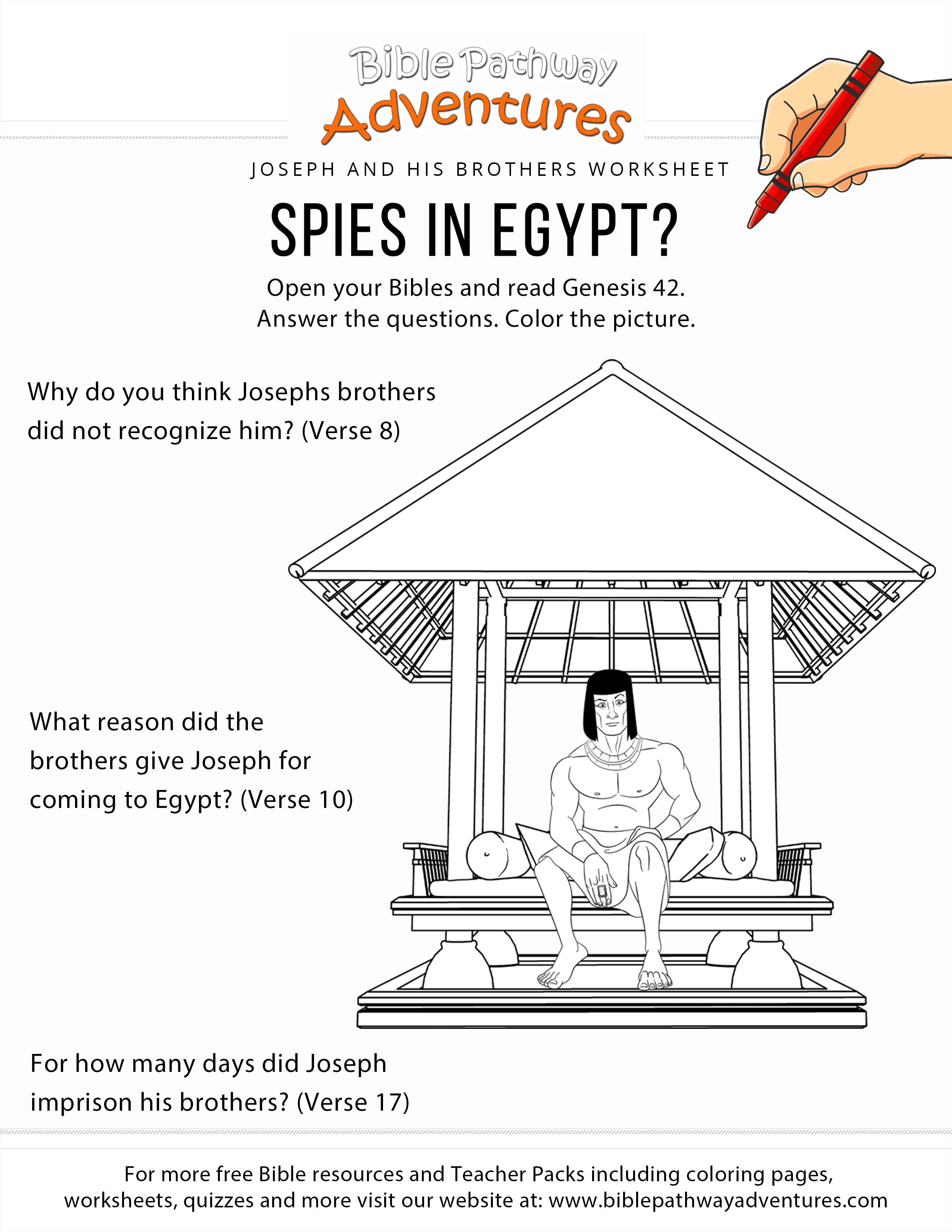Spies In Egypt Joseph Coloring Page And Worksheet
