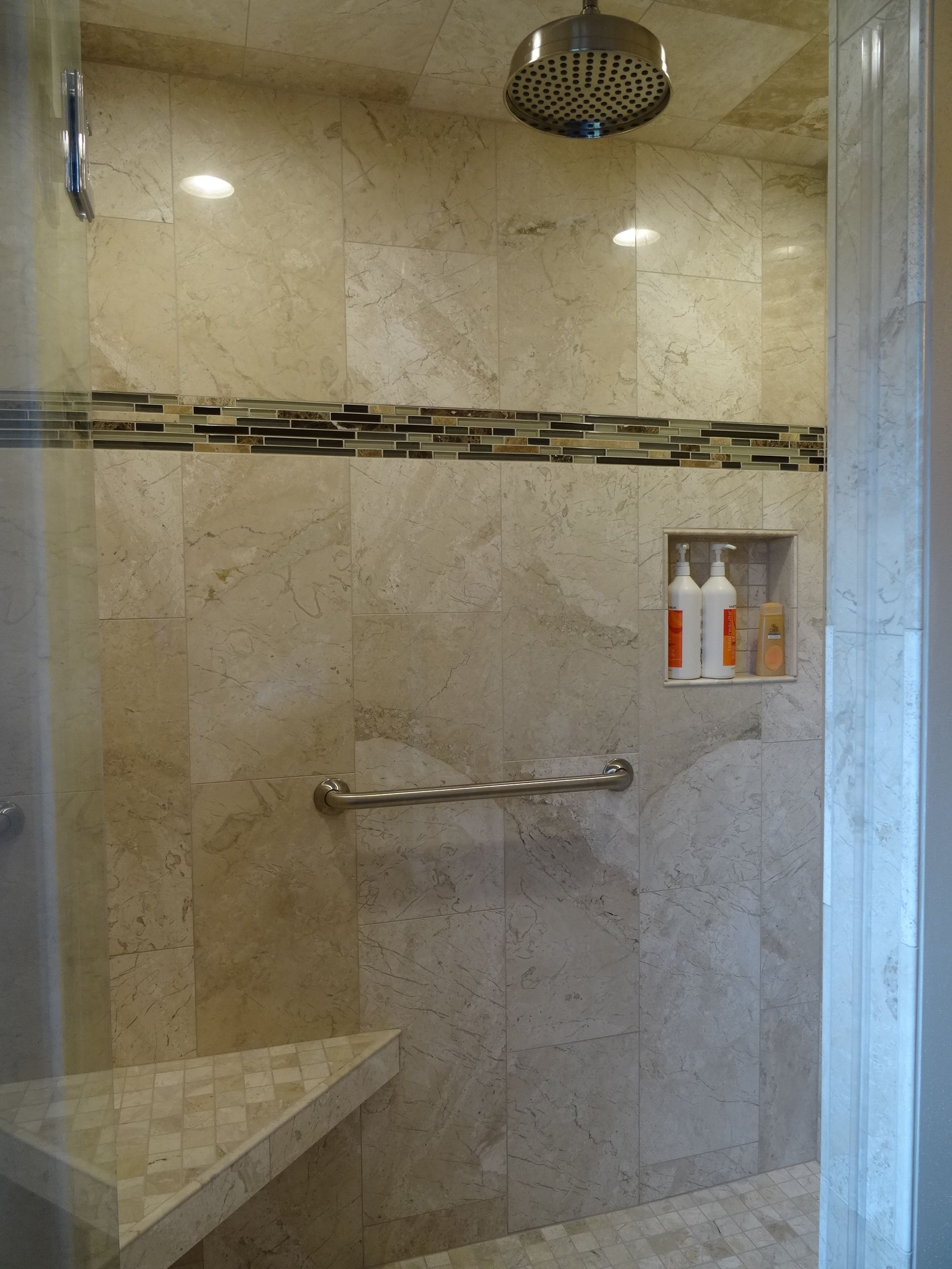 Full tile shower, with raindrop shower head, stainless steel grab ...