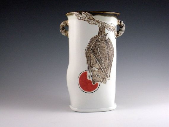 Handmade Ceramic Bat Vase  Handpainted by IndigoBirdStudio on Etsy, $85.00