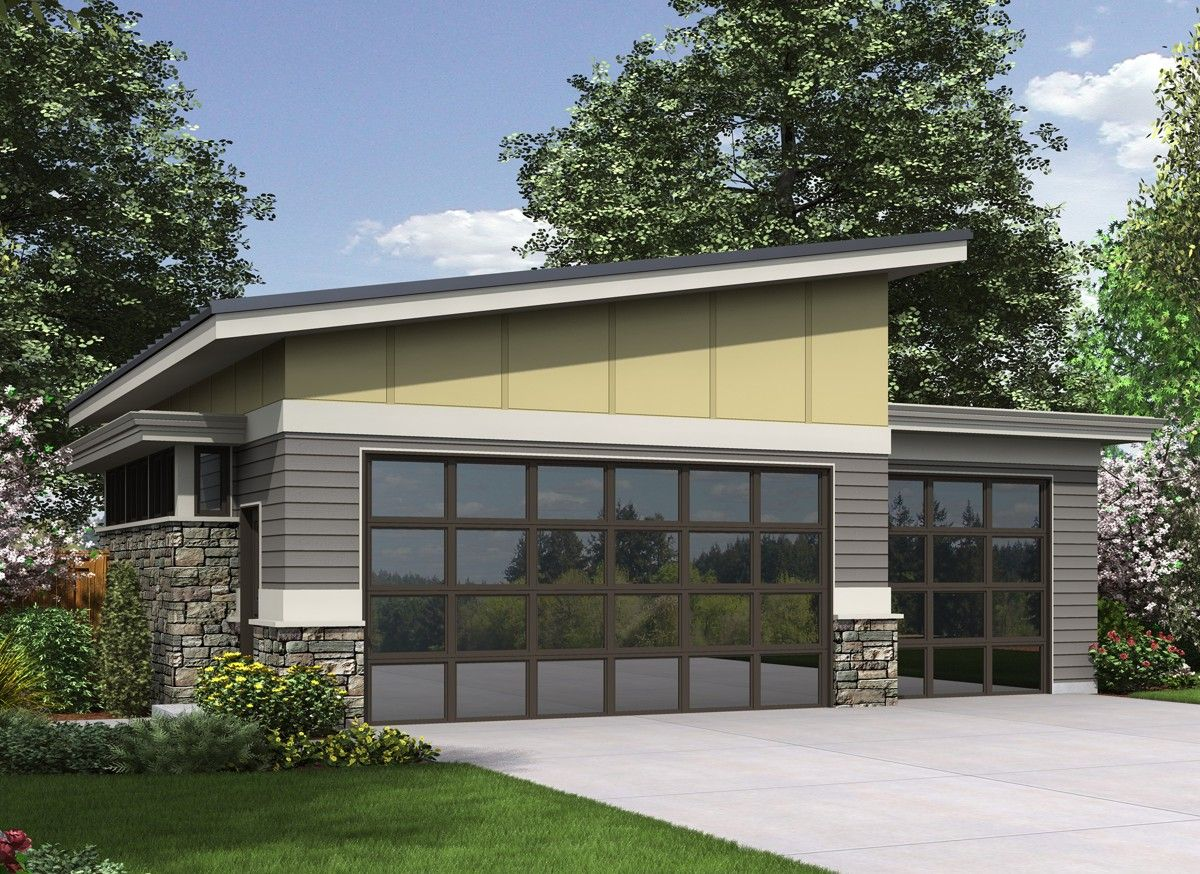 A slanted shed roof gives you a vaulted ceiling for this contemporary garage house plan glass garage doors enhance the modern look