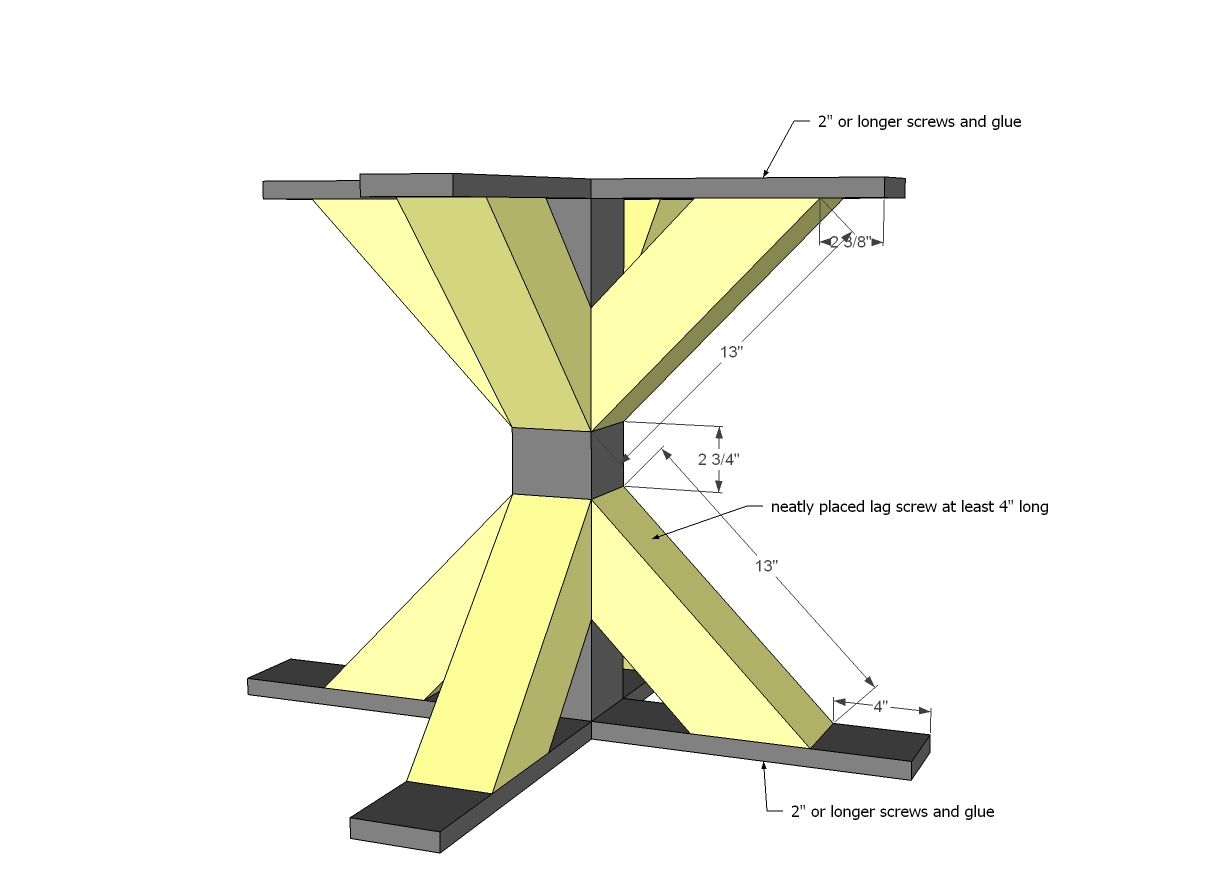 Square X Base Pedestal Dining Table   DIY Projects