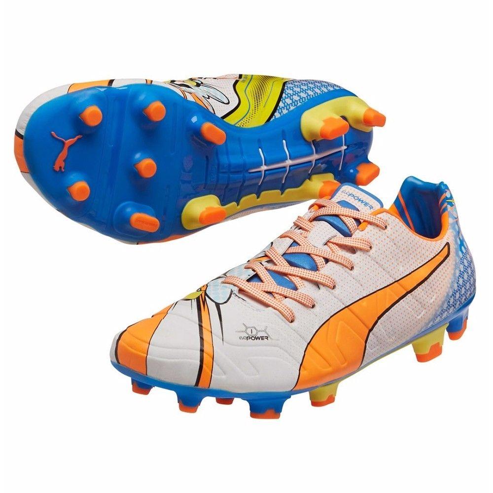 56ad61d100ec Puma evoPOWER 1.2 Graphic Pop FG Soccer Cleats White-Orange Clownfish-Electric  Blue Lemonade