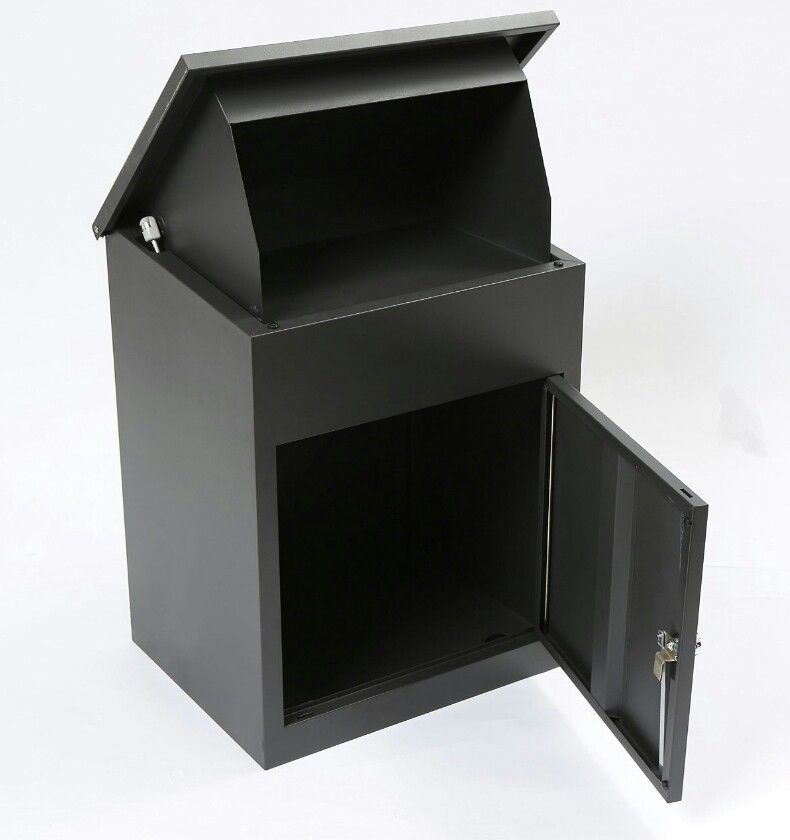 Large Package Mailbox Parcel Drop Box Postal Post Locking Secure Black Metal