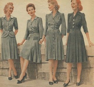 1940's colour of clothing consisted of blue,green,grey, and brown. A tailored suit was the staple outfit for this time.