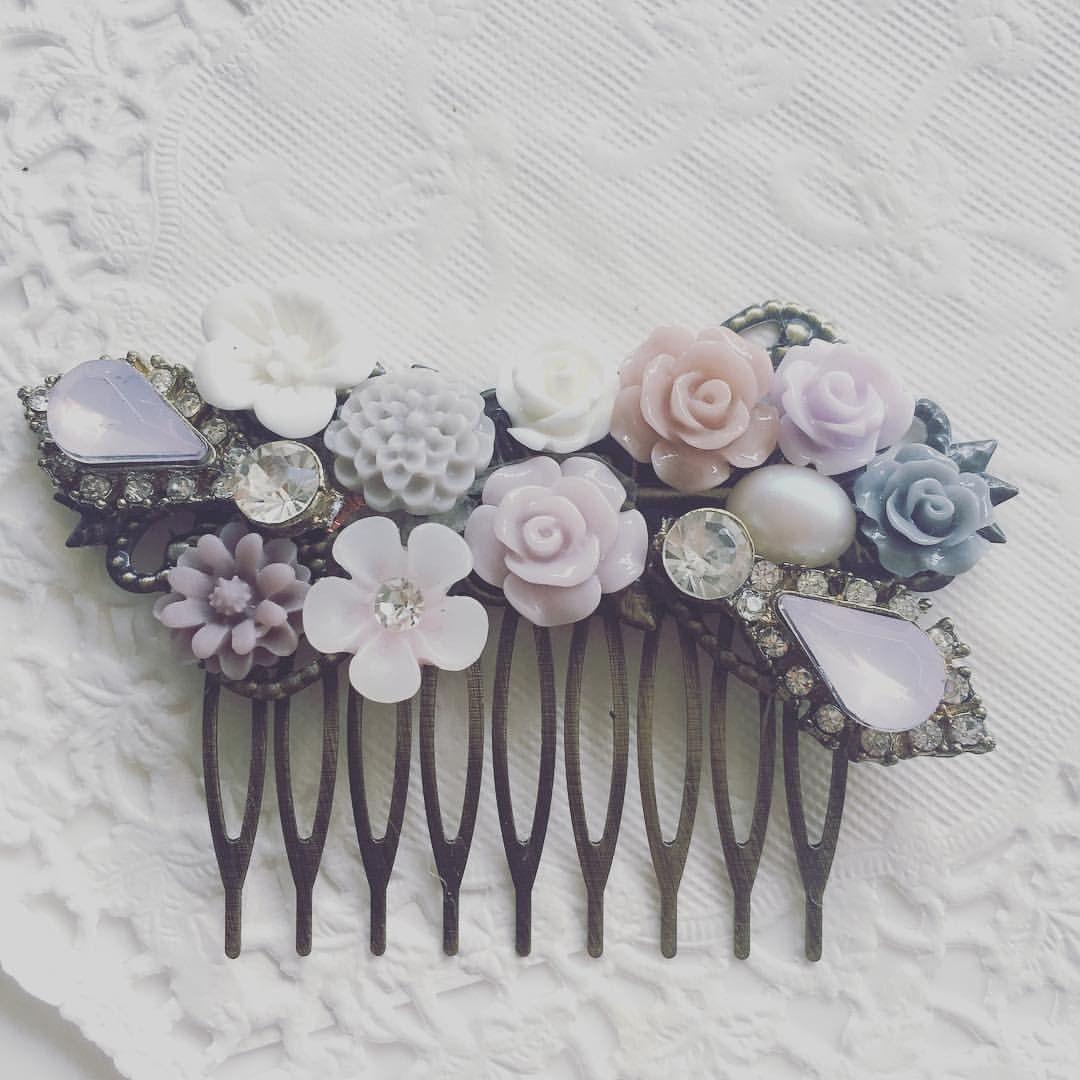 8163d6a05917 Misty Dreamy Wedding Comb Romantic Bridal Hair Accessories Blush Lilac Gray  Mauve Theme - Jewelsalem