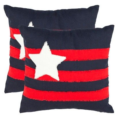 Find decorative accent pillows at Target.com! Express your patriotism with the safavieh 2 pack star and stripes throw pillows. This two pack of throw pillows adds star spangled excitement to your bed, living room furniture and more. The cotton exterior fabric is vibrant and comfortable and also lends itself well to spot cleaning or it can be removed and hand washed. Mix and match these lively decorative pillows to get the comfort and look you want in any room. 2-pc. Set.