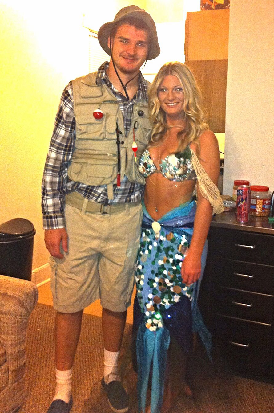 Halloween costume mermaid fisherman couple homemade also best costumes images rh br pinterest