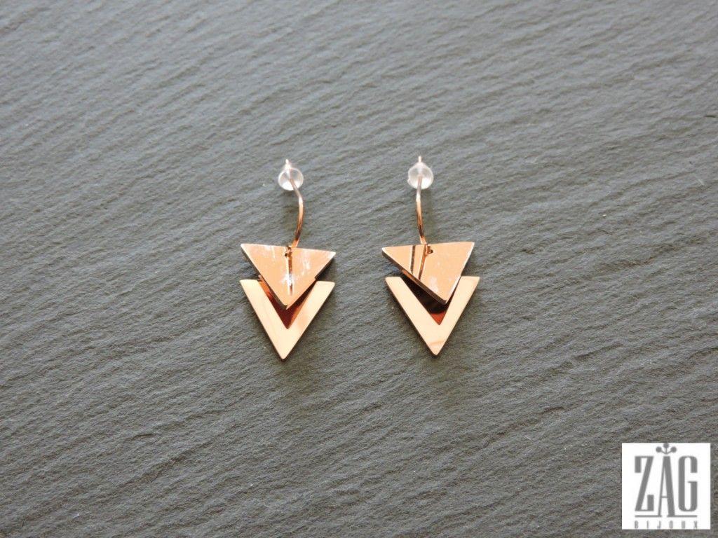boucles d oreilles zag triangles acier rose zag bijoux pinterest. Black Bedroom Furniture Sets. Home Design Ideas