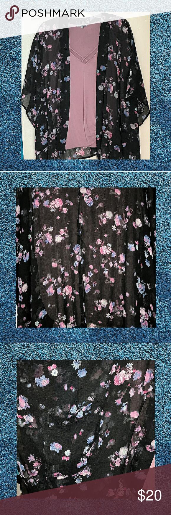 EUC 2X Arizona Jean Co Floral Kimono This silky sheer kimono is so pretty and feminine Arizona Jean Company Tops #myposhpicks