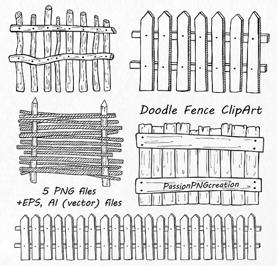 Doodle Fence Clipart, Hand drawn Wooden fence clip art