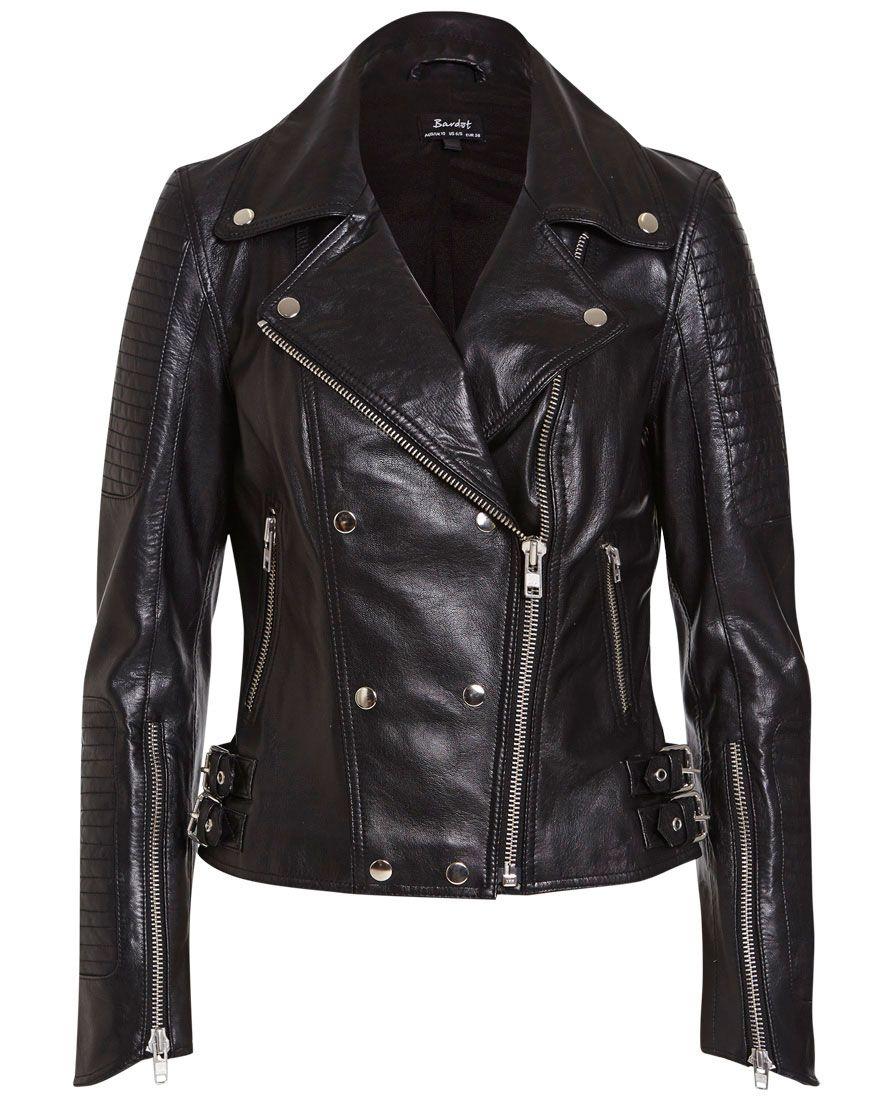 Leather Biker Jacket Bardot Tuch, Modestil, Mode