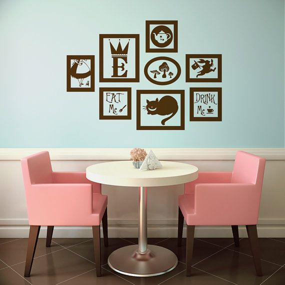 Alice In Wonderland Vinyl Wall Decal Frames Kit With Customized Initial