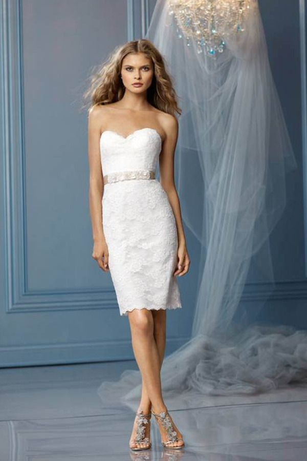 Strapless, sweetheart neckline with slim, pencil skirt and slit in ...