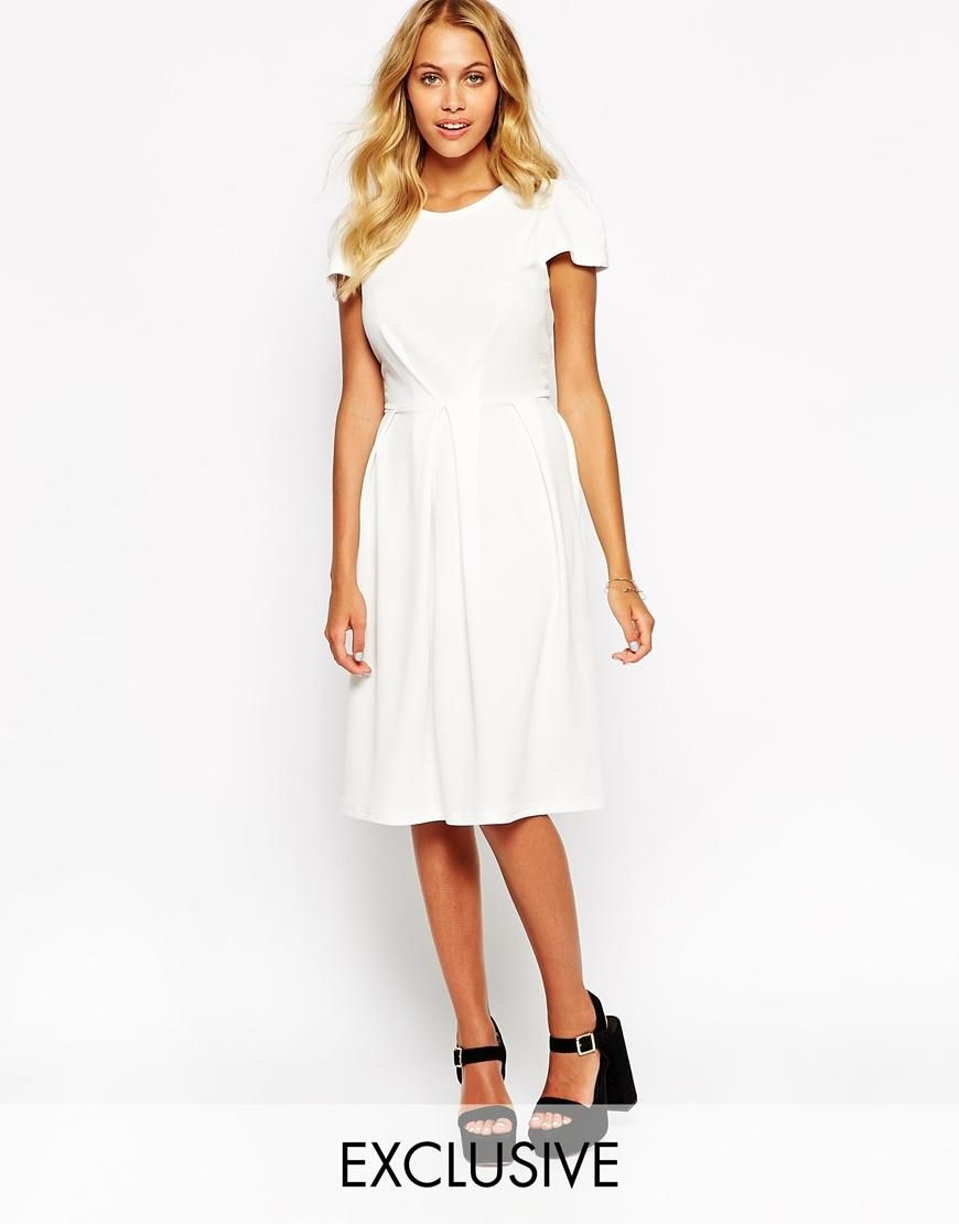 Love love textured midi dress with pleat detail at asos clothes