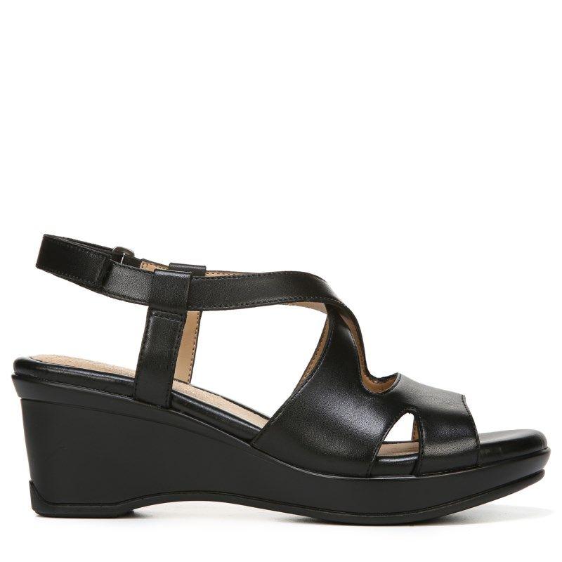 Naturalizer Women's Villette Narrow/Medium/Wide Wedge Sandals (Black Leather )