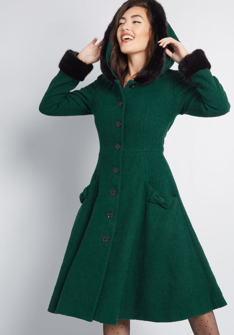 00939b25d5 Collectif x MC Winsome Warmth Fit and Flare Coat in 4 (UK) - Long Fit    Flare Coat by Collectif from ModCloth