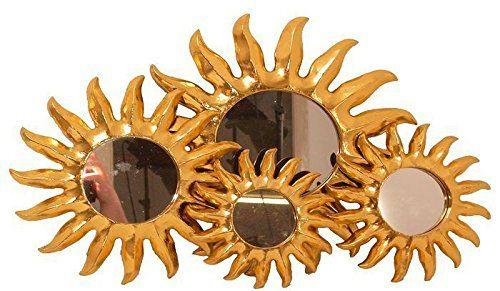 Feng Shui Spiegel wanddeko feng shui spiegel sonne aus holz in gold handbem https