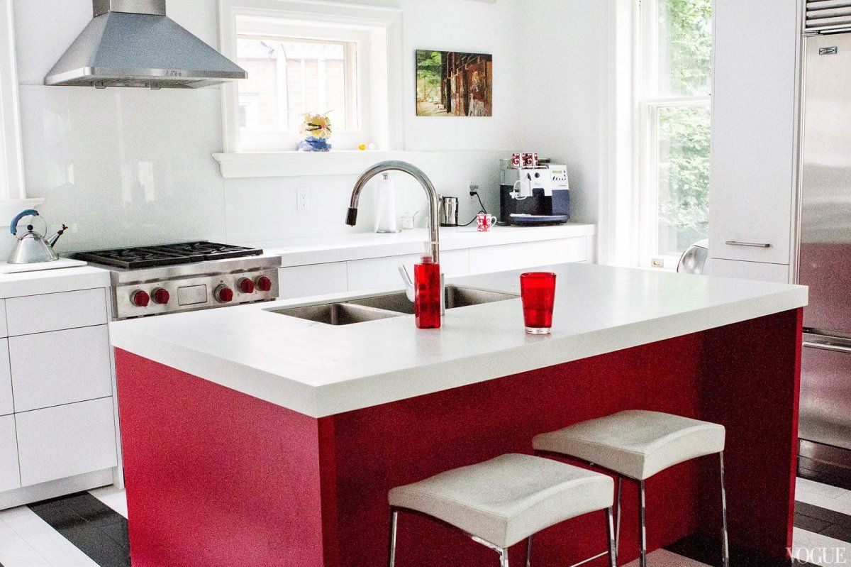 Friendly Home with Small Modern Kitchen Red Island and White ...