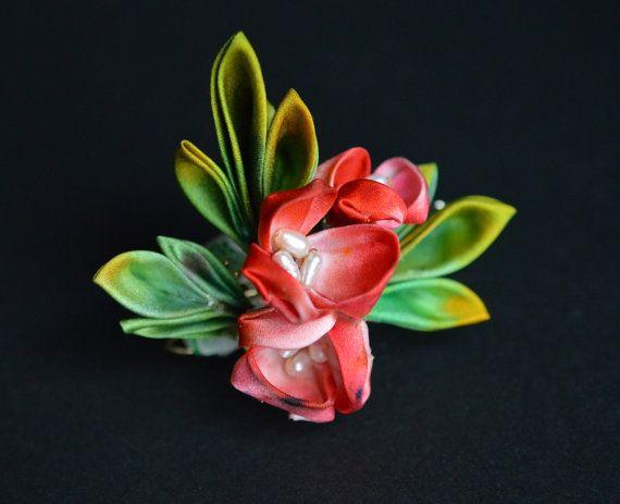 RESERVED. Red Holly bobby pin. Tsumami kanzashi by hanatsukuri, $16.00