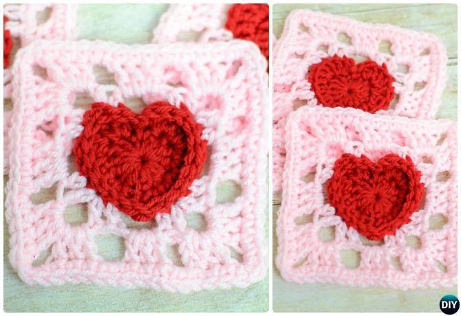 Crochet Heart Granny Square Free Pattern | CROCHETING - AFGHANS ...