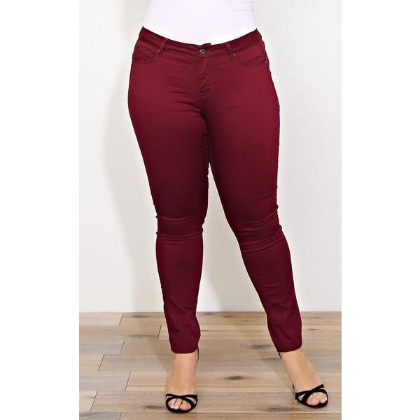 Plus Burgundy Wax Jeans Butt I Love You Skinnies ($30) ❤ liked on Polyvore - Plus Burgundy Wax Jeans Butt I Love You Skinnies ($30) ❤ Liked On