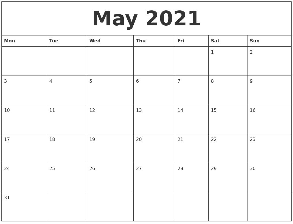Calendar May 2021 Di 2020