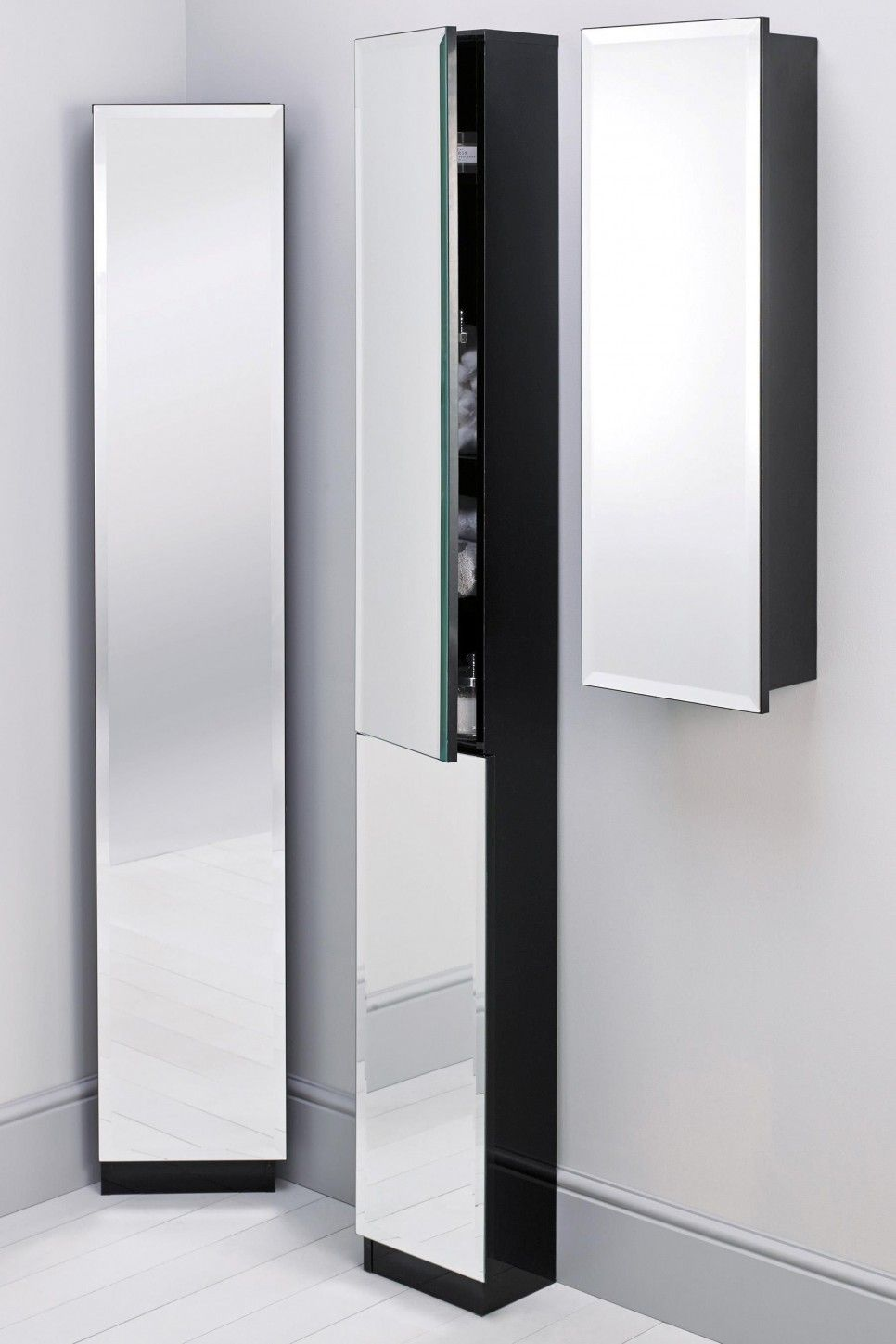Wood Wall Muonted Tall Modern Bathroom Storage Cabinet With Glass