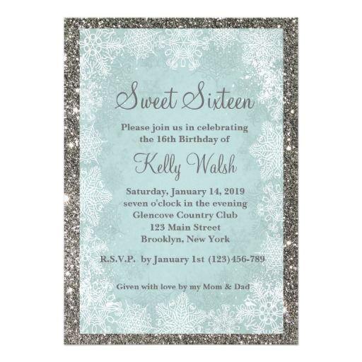 Glitter Snowflakes Sweet 16 Winter Invitation Invites