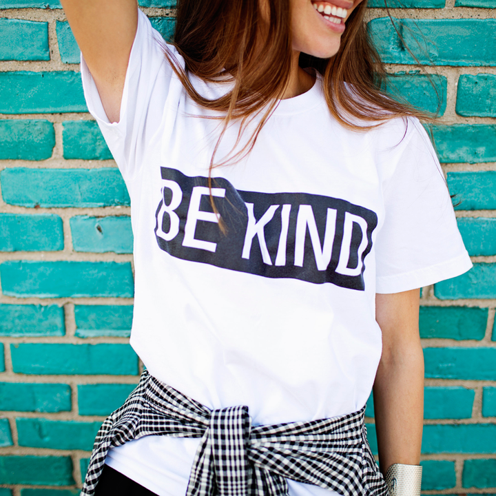 White Be Kind Tee Shirt from FADALES for $25.00
