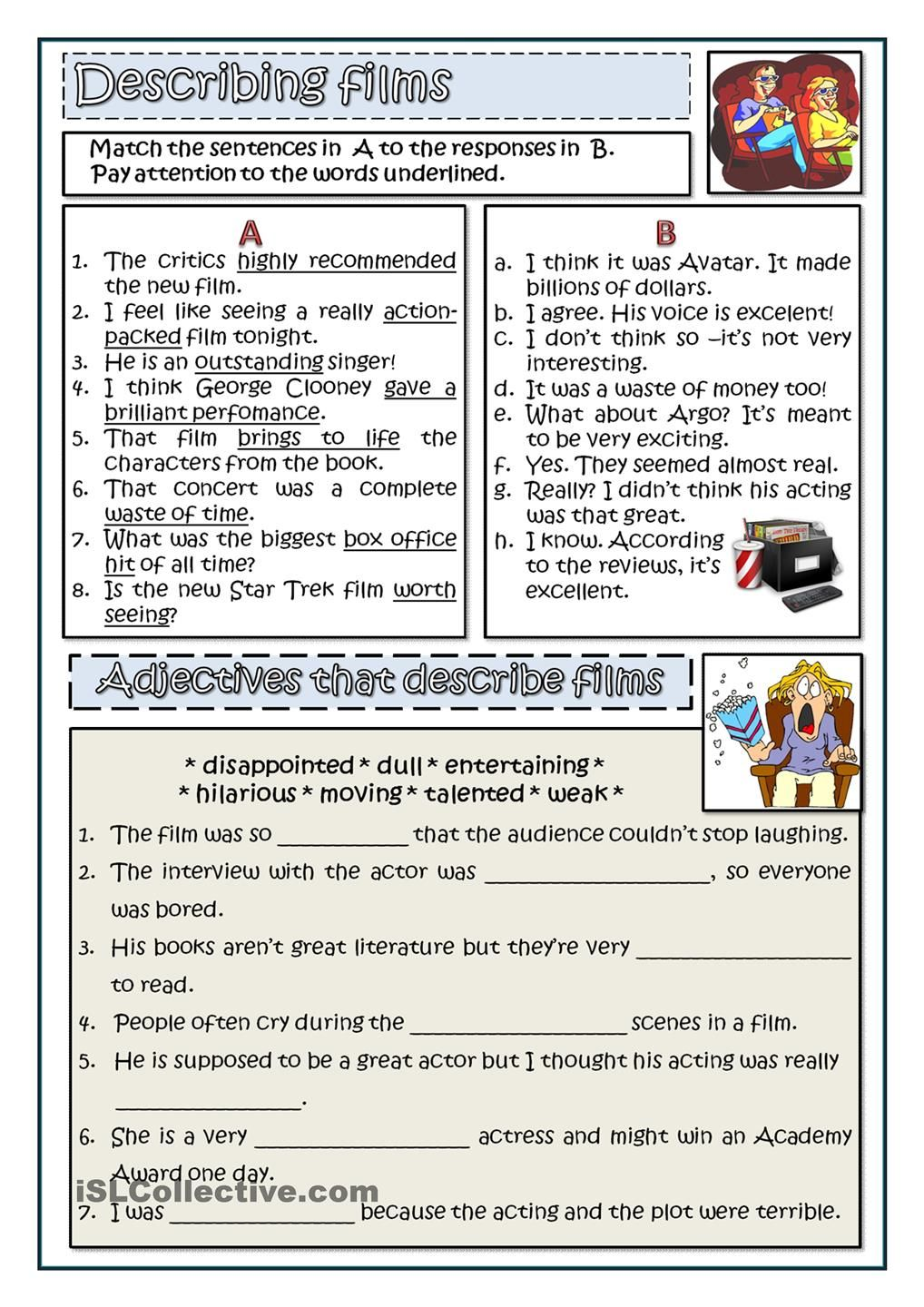 How to describe a film worksheets activities