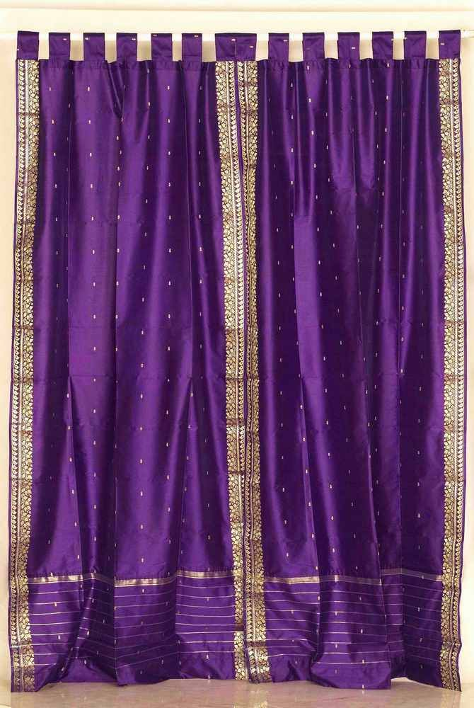 purple and gold sari | Tab Top Purple Silk Sari Curtains Drapes ...