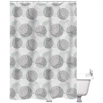Briscoes just home shower curtain origin black 180x180cm