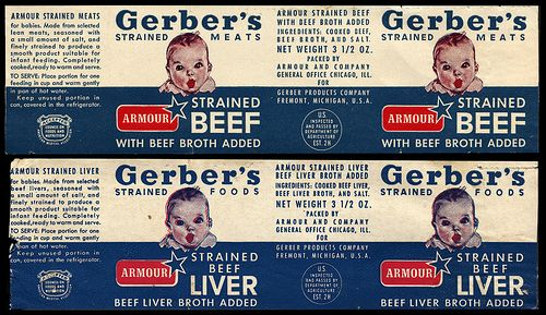 Gerber S Baby Food Strained Beef And Strained Beef Liver Jar Labels 1960 S Gerber Baby Food Baby Food Recipes Gerber Baby