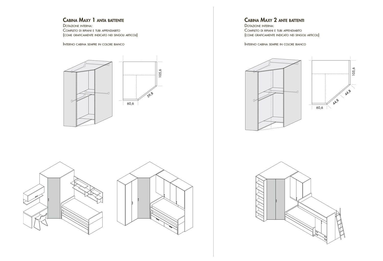 Cabina Armadio Dimensioni Interne.Dimensioni Ed Esempi Compositivi Cabina Armadio Maxy Cameretta